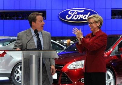 Bill Ford, Michigan Governor Jennifer Granholm at NAIAS