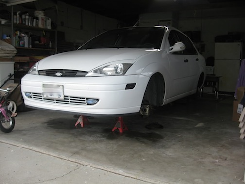 Ford Focus on jack stands