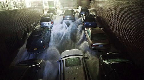 Cars flooded by Hurricane Sandy