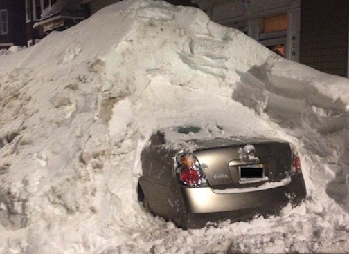 Car buried in snow, Boston